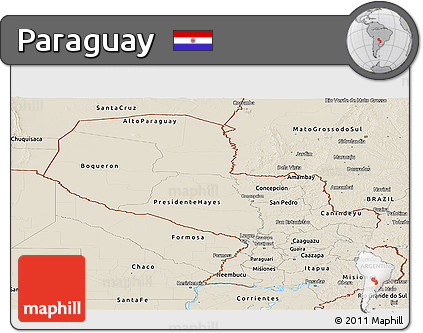 Shaded Relief Panoramic Map of Paraguay