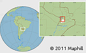 Savanna Style Location Map of Pirayu, highlighted parent region