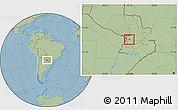 Savanna Style Location Map of Pirayu, hill shading