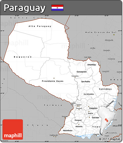 Gray Simple Map of Paraguay