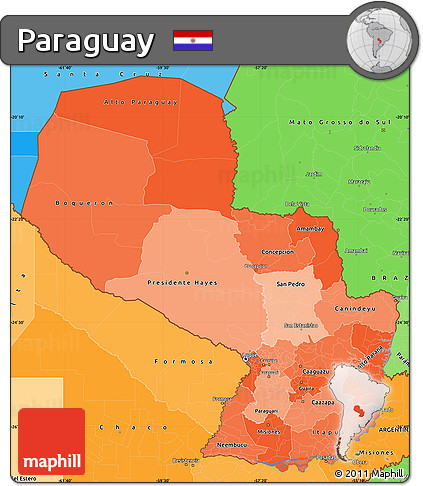 Political Shades Simple Map of Paraguay