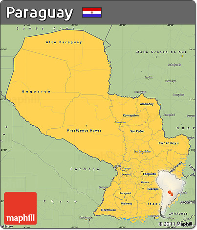 Savanna Style Simple Map of Paraguay