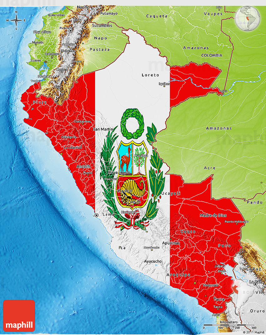 Flag 3D Map of Peru, physical outside