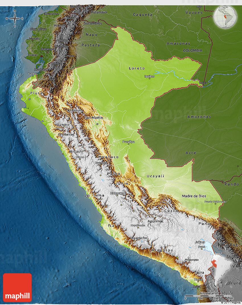 Physical 3d Map Of Peru Darken