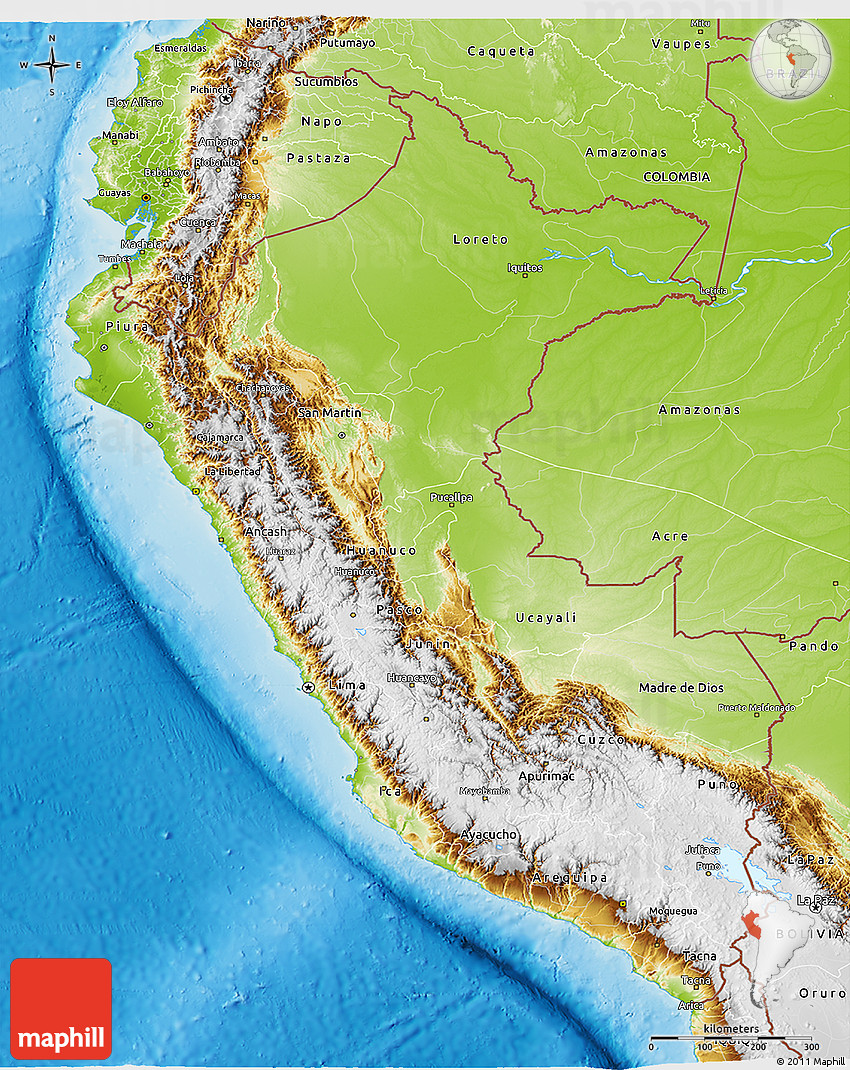 Physical D Map Of Peru - Physical map of peru