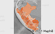 Political Shades 3D Map of Peru, desaturated