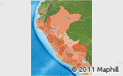 Political Shades 3D Map of Peru, satellite outside, bathymetry sea