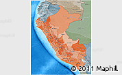 Political Shades 3D Map of Peru, semi-desaturated, land only