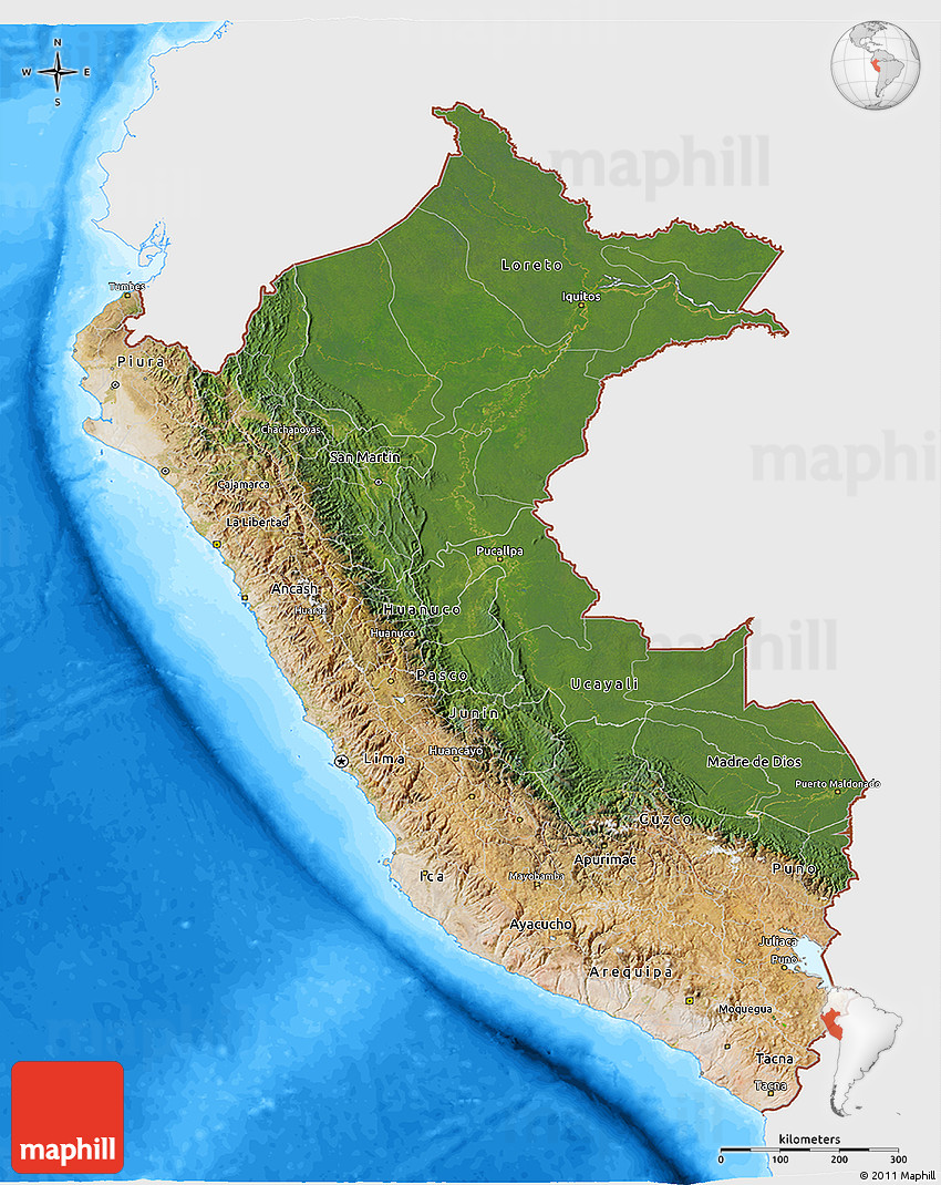 Satellite 3D Map of Peru, single color outside, bathymetry sea