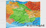Political Shades Panoramic Map of Ayacucho