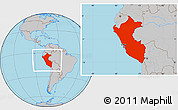 Gray Location Map of Peru
