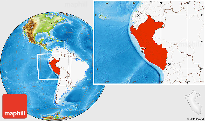 Physical location map of peru highlighted continent 2d sciox Choice Image