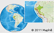 Physical Location Map of Peru, lighten, land only