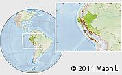 Physical Location Map of Peru, lighten