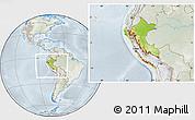 Physical Location Map of Peru, lighten, semi-desaturated