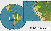 Physical Location Map of Peru, satellite outside
