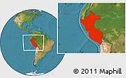 Satellite Location Map of Peru