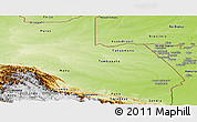 Physical Panoramic Map of Madre de Dios