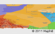 Political Shades Panoramic Map of Madre de Dios