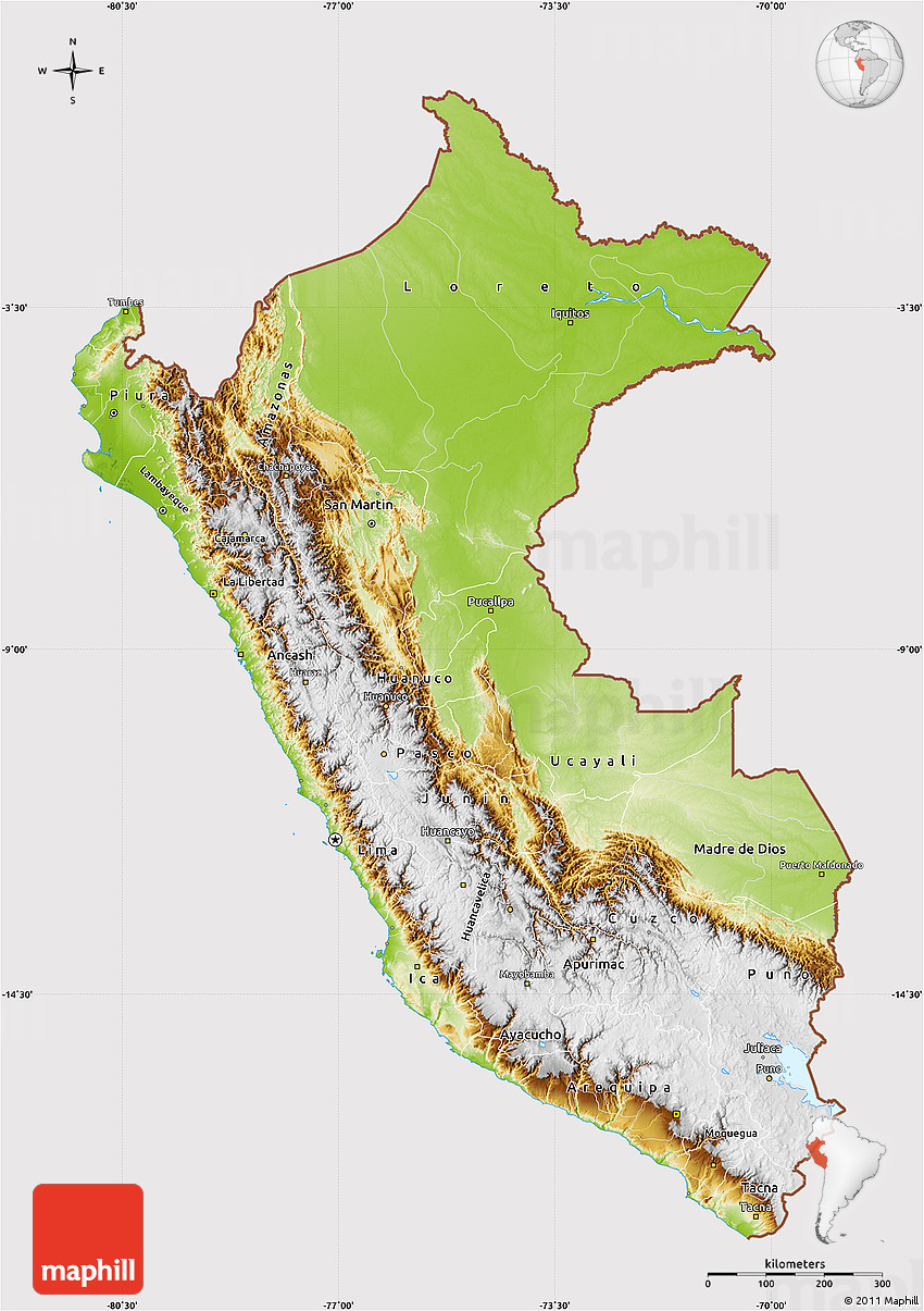 Image of: Physical Map Of Peru Cropped Outside