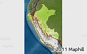 Physical Map of Peru, darken