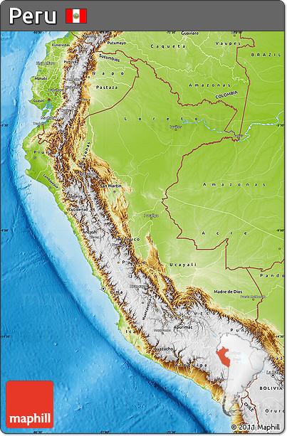 Physical Map of Peru