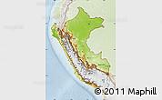 Physical Map of Peru, lighten