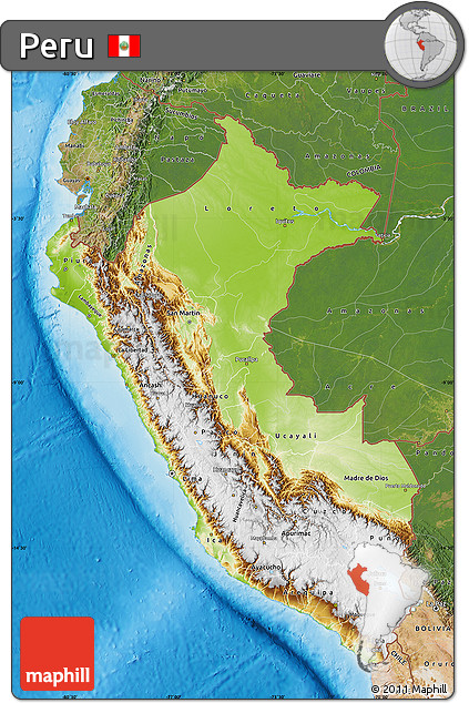 Free Physical Map Of Peru Satellite Outside Shaded Relief Sea - Physical map of peru