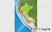 Physical Map of Peru, satellite outside, shaded relief sea