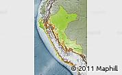 Physical Map of Peru, semi-desaturated