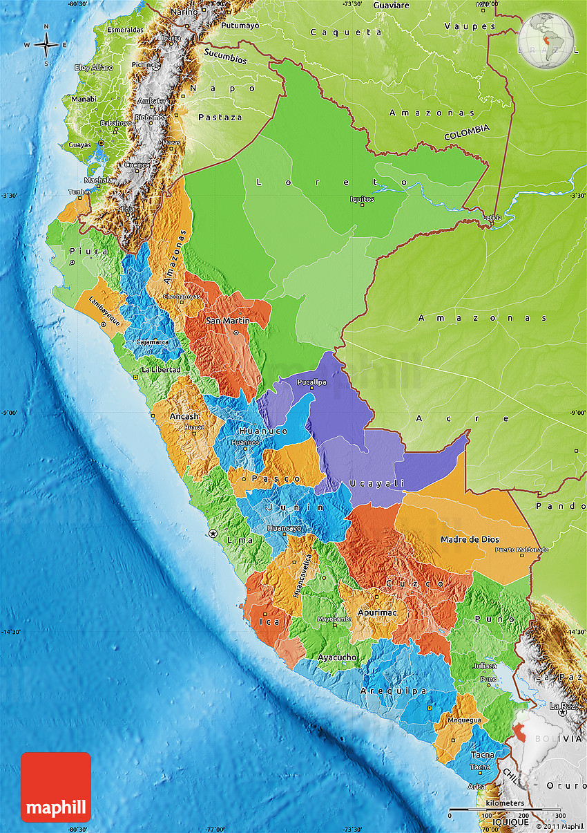 Image of: Political Map Of Peru Physical Outside
