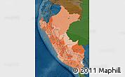 Political Shades Map of Peru, darken