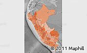 Political Shades Map of Peru, desaturated