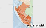 Political Shades Map of Peru, lighten