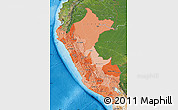 Political Shades Map of Peru, satellite outside, bathymetry sea