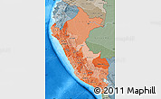 Political Shades Map of Peru, semi-desaturated, land only