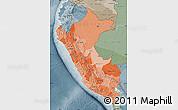 Political Shades Map of Peru, semi-desaturated