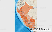 Political Shades Map of Peru, shaded relief outside, bathymetry sea