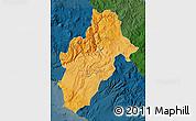 Political Shades Map of Moquegua, darken