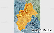 Political Shades Map of Moquegua, semi-desaturated