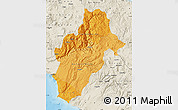 Political Shades Map of Moquegua, shaded relief outside