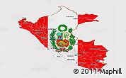 Flag Panoramic Map of Peru