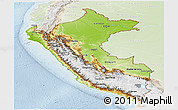 Physical Panoramic Map of Peru, lighten