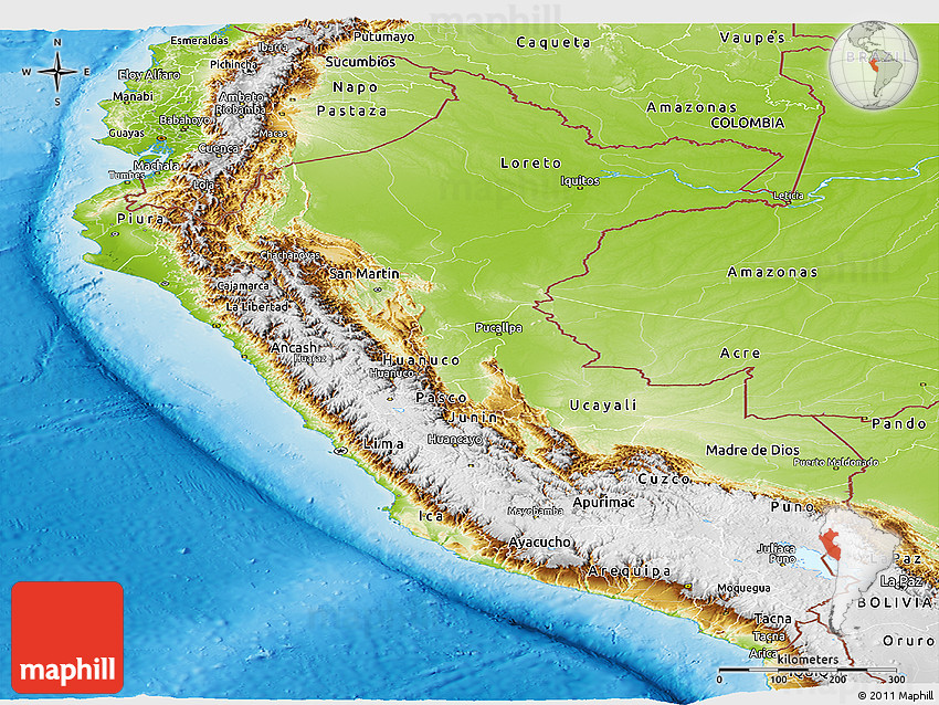 Physical Panoramic Map Of Peru - Physical map of peru