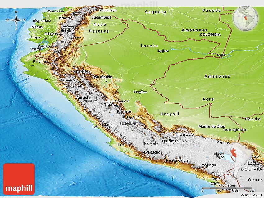 Physical Panoramic Map Of Peru - Perus map