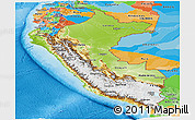 Physical Panoramic Map of Peru, political outside, shaded relief sea