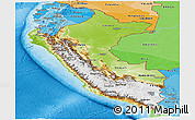 Physical Panoramic Map of Peru, political shades outside, shaded relief sea