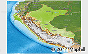 Physical Panoramic Map of Peru, satellite outside, shaded relief sea