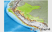 Physical Panoramic Map of Peru, semi-desaturated, land only