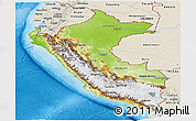 Physical Panoramic Map of Peru, shaded relief outside